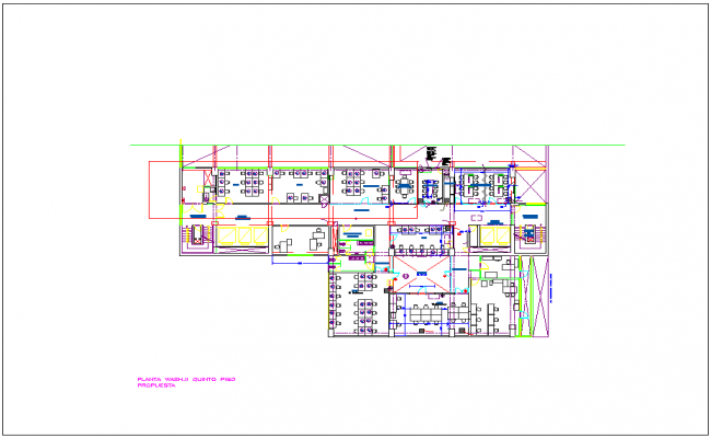Fifth floor plan with architectural view of Washington office dwg file
