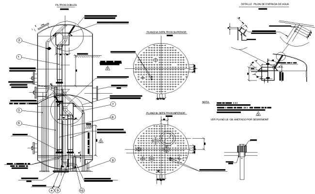 Filter machine detail dwg file