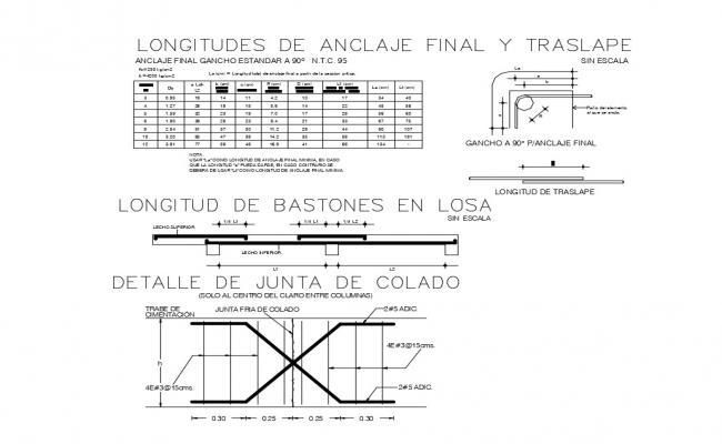 Final anchoring, translation lengths and standard hook cad structure details dwg file