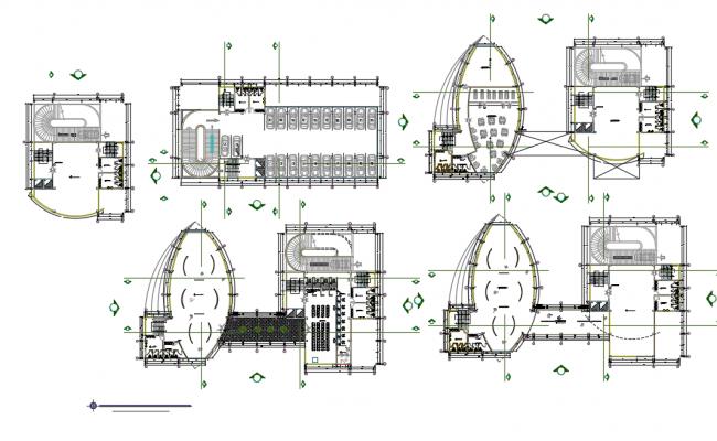 Financial center layout plan dwg file.