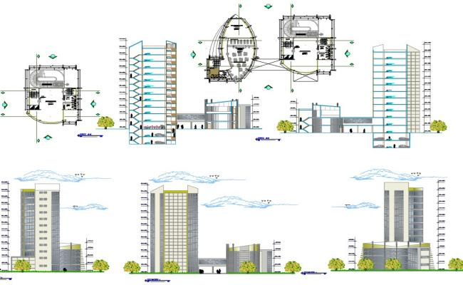 Ping Mall Plan Elevation Section : Financial center office floor plan elevation and section