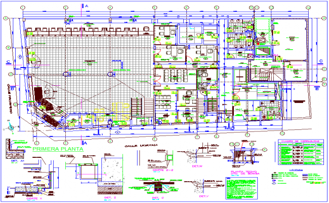 Financial office plan with first floor dwg file