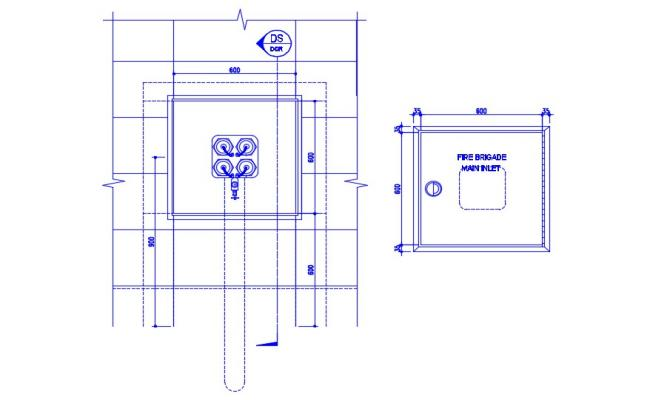 Fire Brigade Main Inlet Connection AutoCAD Drawing