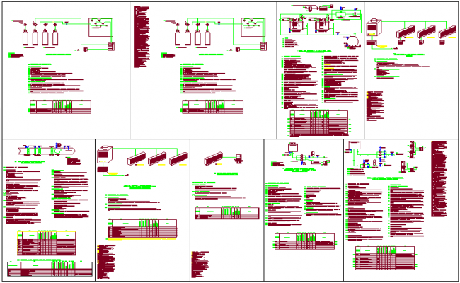 Fire fighting system design view dwg file