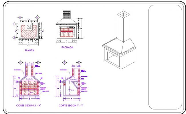 Fire place detail in autocad dwg files