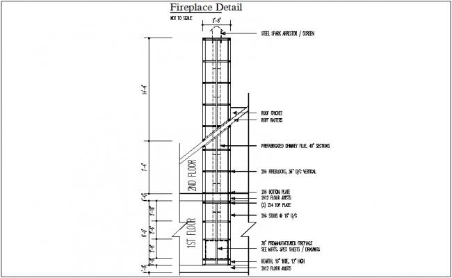 Fire place plan detail dwg file