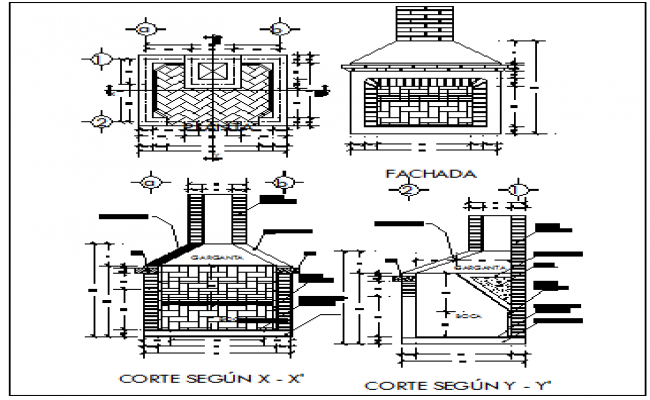 Fire place with grill of barbecue kitchen details dwg file