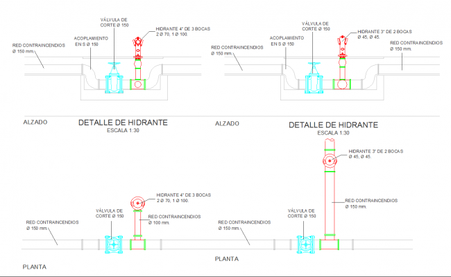 Fire protections design and detail in cad drawing
