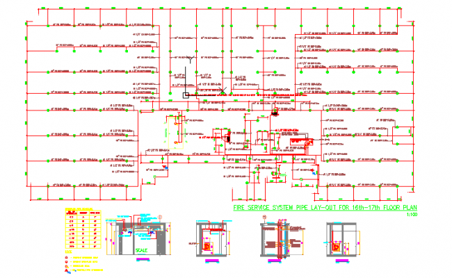 Fire service system pipe layout