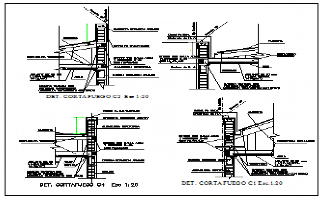 Fire wall Section design drawing