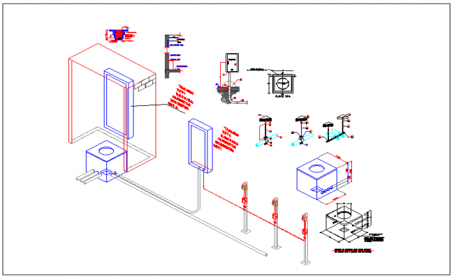 Fire water hazard automation system full layout detail dwg file