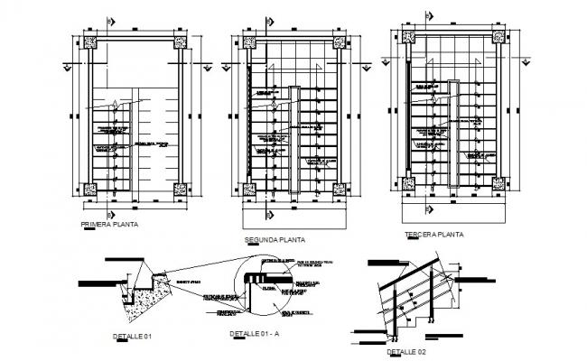First, second and terrace floor framing plan details dwg file