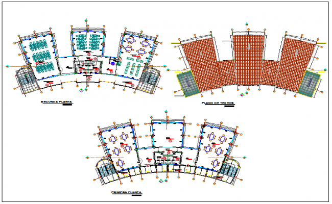 First, second and top floor layout plan details of multi flooring college dwg file