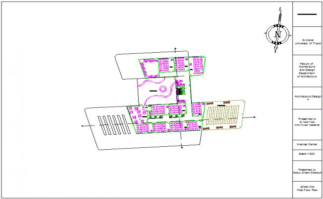 First  floor plan of medical center dwg file