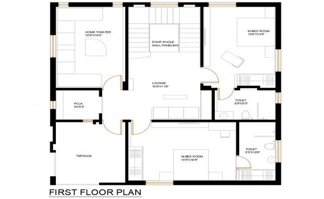 First Floor House Design With Furniture Layout DWG File