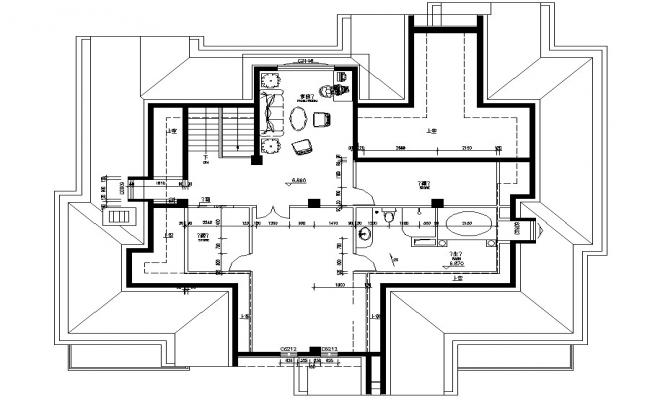 First Floor Plan With Balcony DWG File