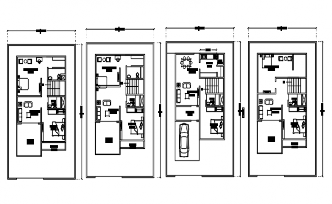 First Floor plan of house design with furniture details in dwg file