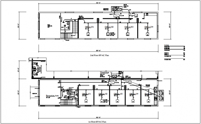 First and second floor HVAC plan of corporate office dwg file