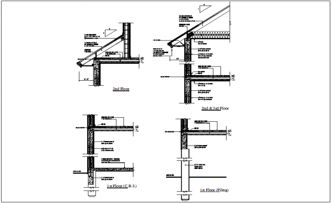 First and second floor beam view with roof truss dwg file