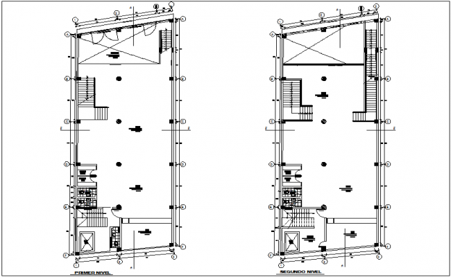 First and second floor commercial building plan dwg file