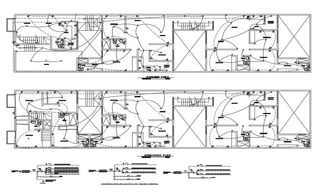 First and second floor electrical installation details of office dwg file