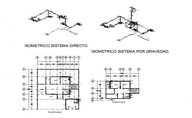 First and second floor electrical layout and isometric diagram system details dwg file