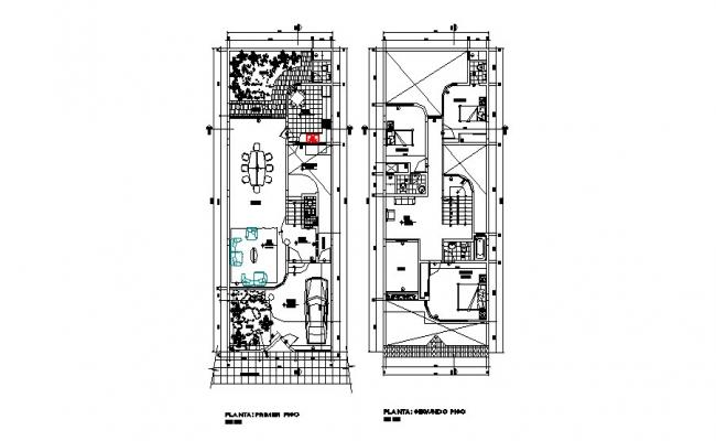 First and second floor layout plan details of two-level house dwg file