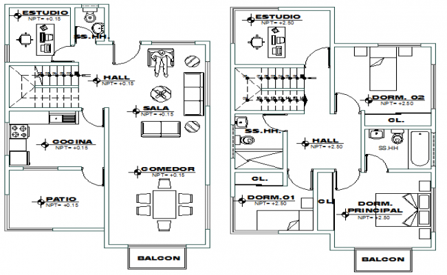 First and second floor layout plan of modern house dwg file