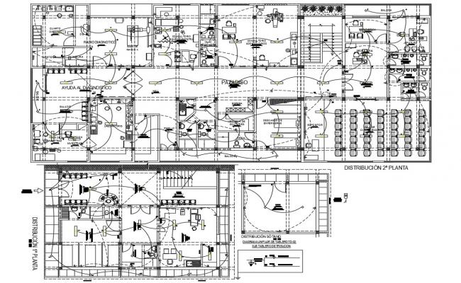 First and second floor plan and electrical distribution plan details of corporate building floors dwg file