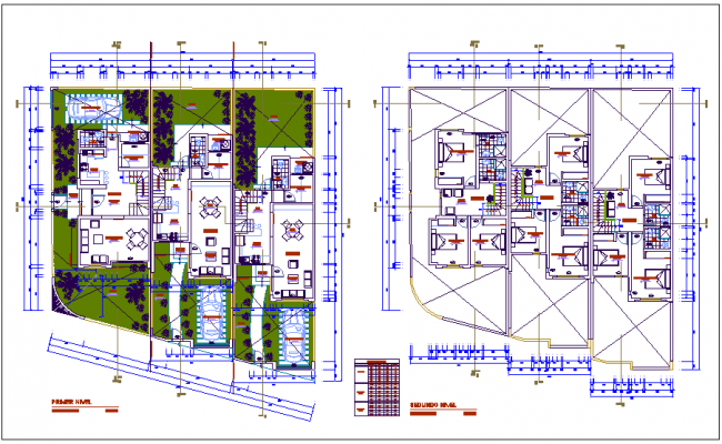 First and second floor plan for multi family building dwg file