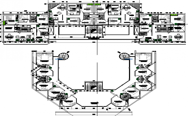 First and second floor plan layout details of shopping mall dwg file