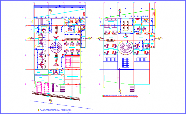 First and second floor plan of bank design with architectural view dwg file