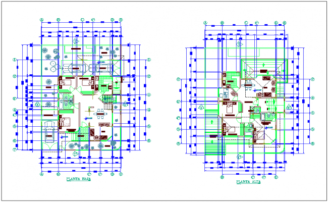 First and second floor plan of duplex with architecture view dwg file