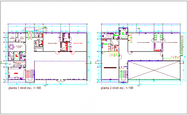 First and second floor plan of office dwg file