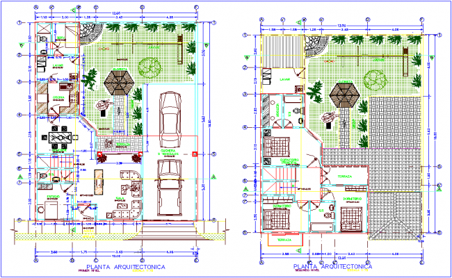 First and second floor plan with architectural view for two floor housing dwg file