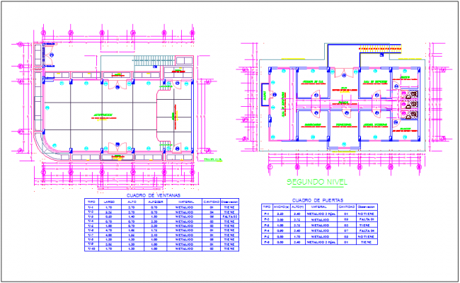 First and second floor plan with door and window detail of communal office building dwg file