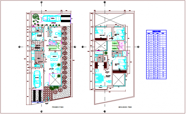 First and second floor plan with door and window table of single story apartment dwg file