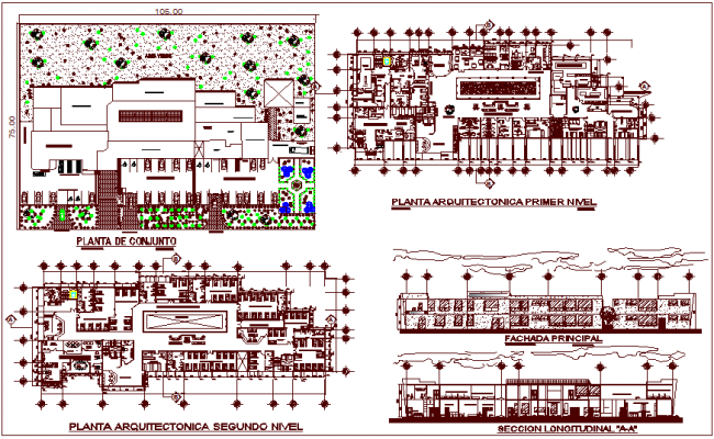 First and second floor plan with section view of hospital dwg file