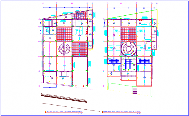 First and second floor plan with structural view for bank design dwg file