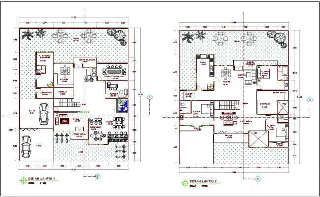 First and second floor plan with view of office dwg file