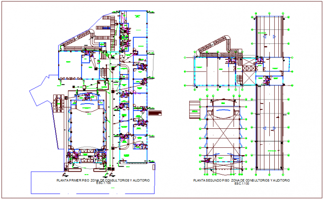 First and second floor sanitary view for consultant an d auditorium area dwg file