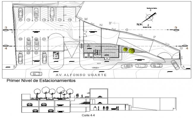 First floor Salon social plan detail dwg file