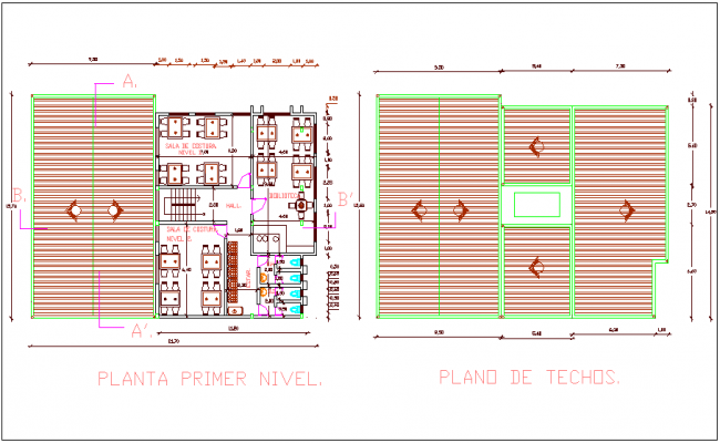 First floor and roof plan of city hall dwg file