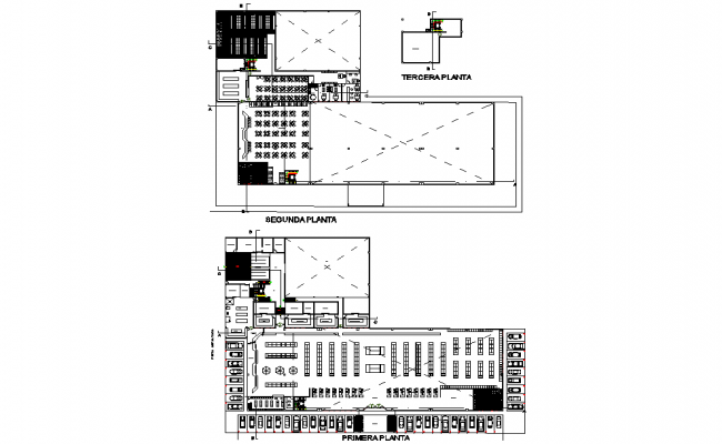 First floor and second-floor Supermarket detail dwg file