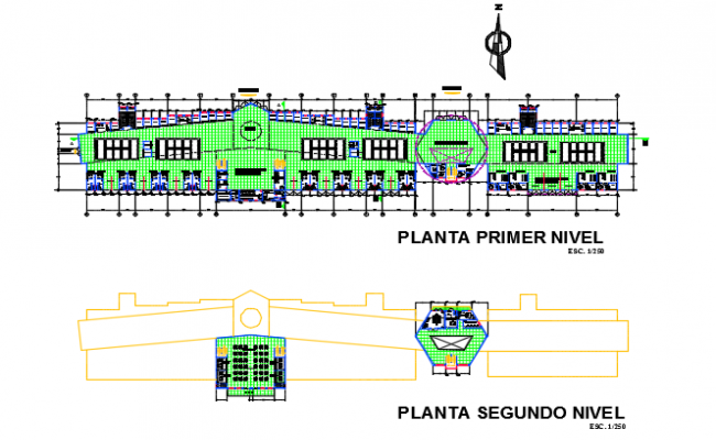 First floor and second floor bus station plan detail dwg file