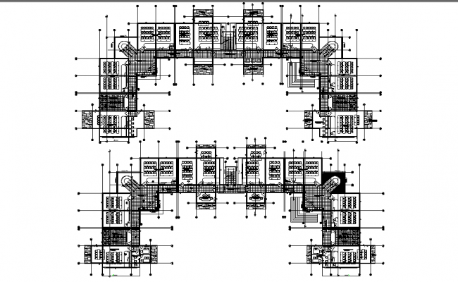 First floor and second floor business hub plan detail dwg file