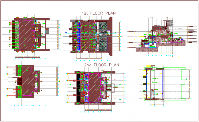 First floor and second floor plan view with elevation dwg file