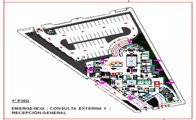 First floor layout of Emergency and general reception area design drawing