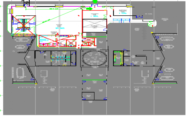 First floor layout plan details of corporate building dwg file