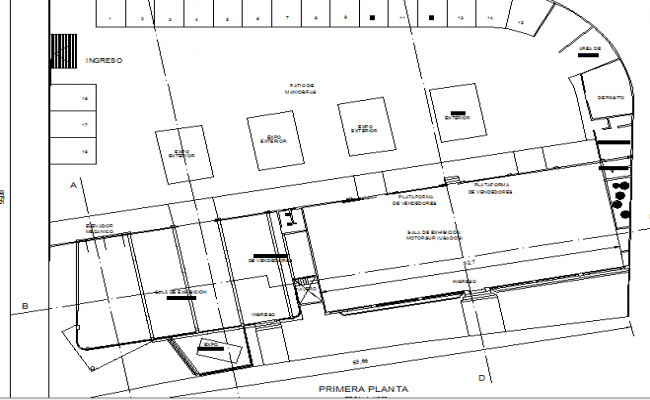 First floor layout plan details of mini shopping center dwg file